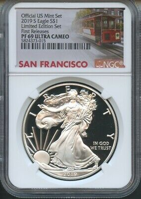 2019 S Silver Eagle Limited Edition First Releases NGC PF69 U.C Trolley