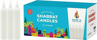 Shabbat Candles - 72 White Taper Candles - Shabbos Candles by Israel Candle 3...
