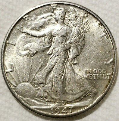 1947-D Walking Liberty Silver Half Dollar - Last Year Issued - Excellent Details