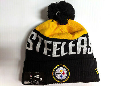 Pittsburgh Steelers Knit Hat New Era Cuff Pom Patch Beanie Stocking Cap NFL