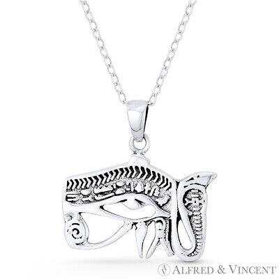 Eye of Horus Snake Egyptian Udjat Wedjat .925 Sterling Silver Luck Charm Pendant