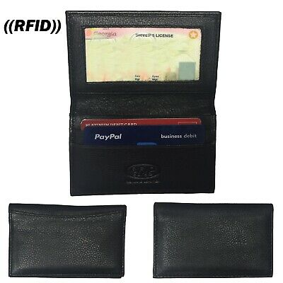 New Mens Slim Thin Bifold Genuine Leather Wallet ID Credit Card Holder, RFID