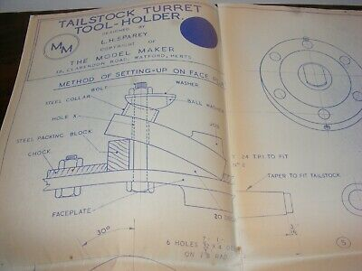 Model Making Maker Drawing Tailstock Turret Tool Holder L H Sparey Lathe Turning