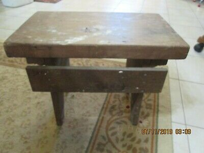 Antique Wood Bench Step Stool  Barn Country