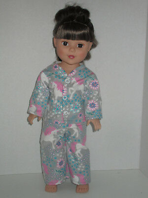 """Unicorns & Flowers/Gray Pajamas for 18"""" Doll Clothes American Girl"""