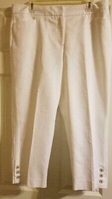 NWT Roz & Ali Woman White Crop Dress Pant Capri Tummy Control – Size 14
