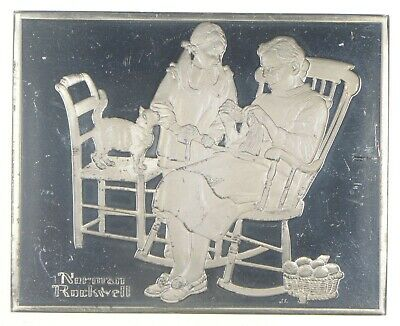 The Knitting Lesson - Norman Rockwell Sterling Silver Art Bar - .925 101.7g *049