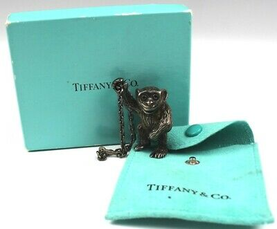 Signed Tiffany France Sterling Silver 925 Figural Monkey Chimpanzee Keychain LZO