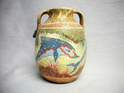 Museum Replica Ancient Greek MINOAN Amphora Dolphin Pottery Vase Signed Tagged