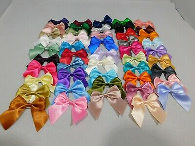 10 x Large Satin Self Adhesive Bows 6cm wide Single sided 25mm Ribbon Pack UK