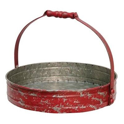 New Primitive Farmhouse Rustic RED CHIPPY ROUND METAL CANDLE TRAY Stand Basket