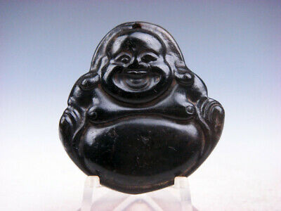 Old Nephrite Jade Hand Carved *Big Belly Laughing Buddha* Pendant #10171902