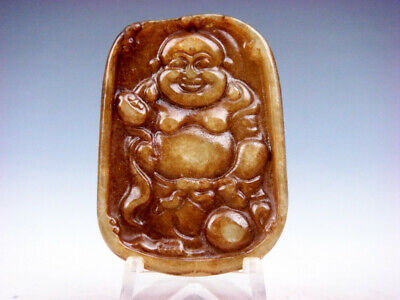 Old Nephrite Jade Hand Carved *Big Belly Laughing Buddha* Pendant #10031912