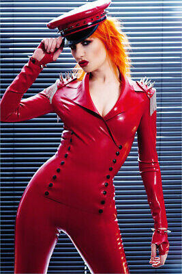 Latex Catsuit Rubber Rot  overall Gummi Sexy Cosplay Button Bodysuit S-XXL 0.4mm
