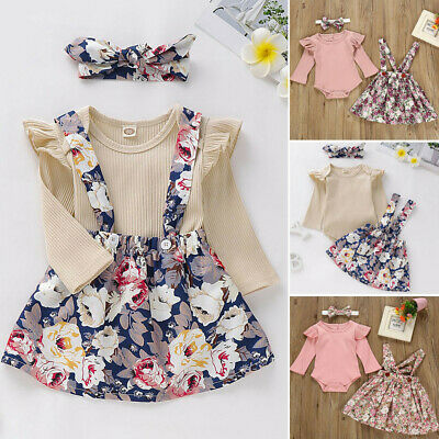 3PCS Toddler Baby Girl Long Sleeve Tops Floral Strap Skirt Hair Band Outfit Set