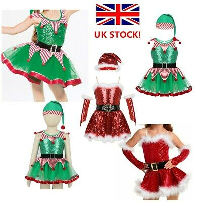 UK Girls Christmas Costume Fairy Fancy Dress Sequins Tutu Dress Cosplay Outfit