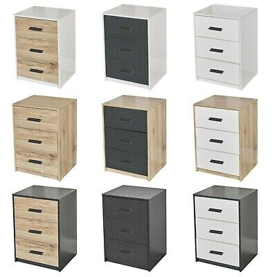 3 Drawer Wooden Bedroom Bedside Cabinet Furniture Storage Nightstand Side Table