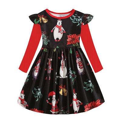 Toddler Kids Baby Girl Xmas Party Cartoon Splice Ruffle Long Sleeve Dress Outfit