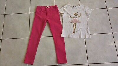 Adorable Ensemble Jeans Rose Catimini Et Tee Shirt Blanc Alphabet 7/8 Ans Tbe