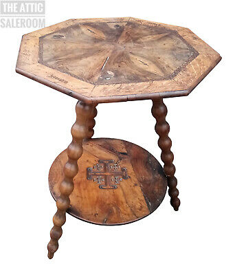 Interesting Old Antique Inlaid Jerusalem Side End Hall Lamp Console Coffee Table