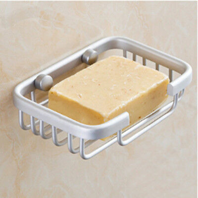 Metal Shower Soap Dish Holder Cup Tray Wall Mounted Bathroom Kitchen Water Drain