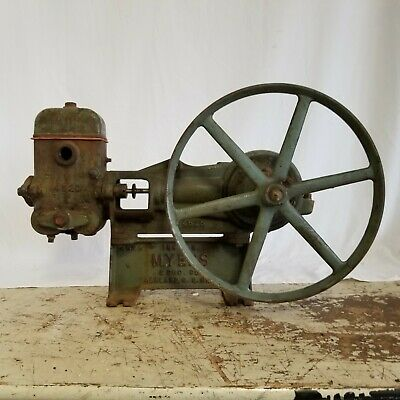 Myers Brothers Antique Cast Iron Piston Water Pump 1909, for Hit & Miss Engine