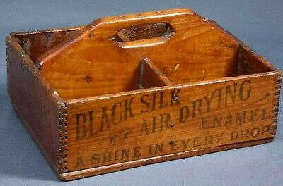 Antique Primitive Wooden Tote Box Caddy Advertising