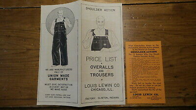 Vintage Advertising LEWIN OVERALLS,TROUSERS  BROCHURE, Work Clothes Price List