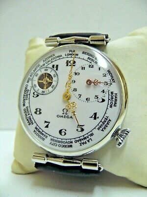 HIGH GRADE STYLE Ω OMEGA WORLD TIME GENTS WRISTWATCH, 15 Jew. NO RESERVED!!!