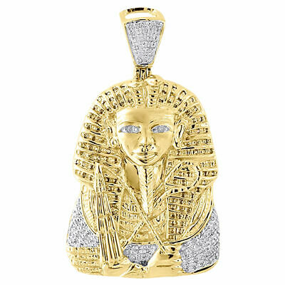 Diamond Mini Egyptian Pharaoh King Tut Pendant 0.40 Ct. 10k Yellow Gold Charm