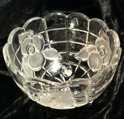 Crystal and Frosted Floral Bowl with a Scalloped Edge, Pressed GlassFruit Bowl