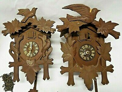 2 Antique c1940s Small GERMAN CUCKOO Wall CLOCKS Black Forest w/ Weights