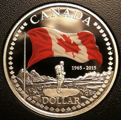 2015 Canada Fine Silver Dollar from Proof Set - Canadian Enameled Flag $1 Coin