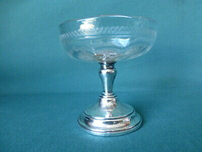 Antique Sterling Silver and Glass Small Compote