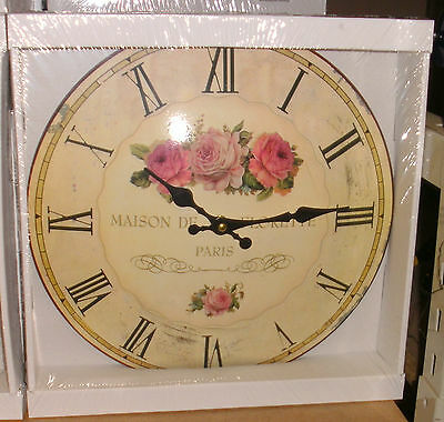 Wall Clock Flores Paris round Enamel Battery Vintage Gift Furniture & Interior