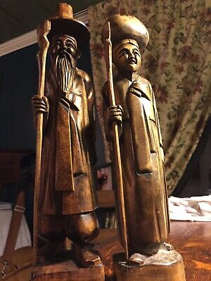 Antique Wood Carvings, Asian Oriental Figurines, Hand Carved, Folk Art