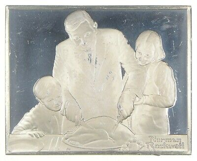 Holiday Dinner - Norman Rockwell Sterling Silver Art Bar - .925 - 99.3g *046
