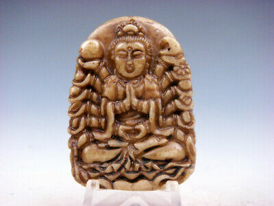 Old Nephrite Jade Hand Carved *Thousand Arms Kwan-Yin Buddha* Pendant #09261911