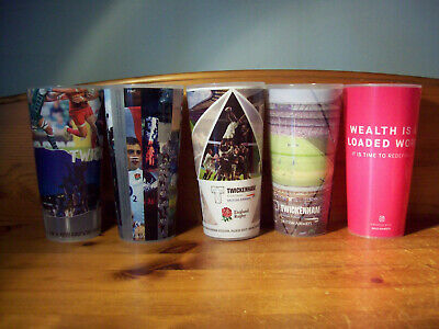 5 Off Different Twickenham England Rugby Reusable Plastic Pint Cups/Glasses B