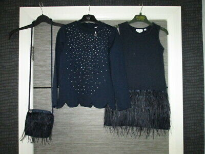 Girls A Dee Navy Blue 3Pce Set Feather Dress/Top/Bag Age 8 Yrs Lovely Cond