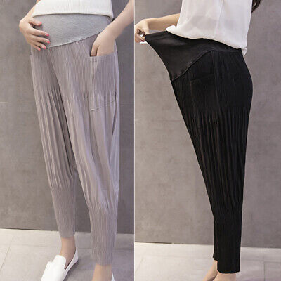 Womens Pregnant Maternity Loose Chiffon Pants Casual High Waist Trousers Plus