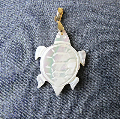 Vintage carved mother of pearl turtle shaped pendant