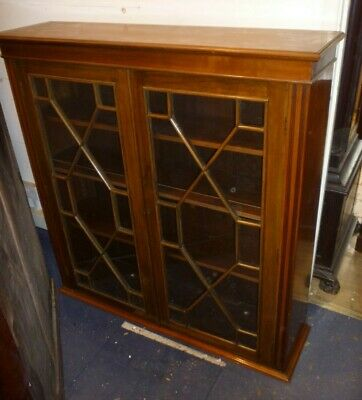 Very Nice Victorian Mahogany Glazed Double Door Dwarf Bookcase With Key