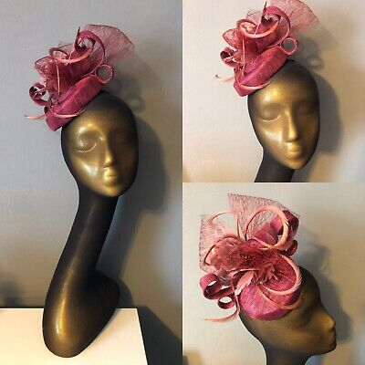 Mauve Sinamay Fascinator Feathers Lace Races Wedding With Hat Box