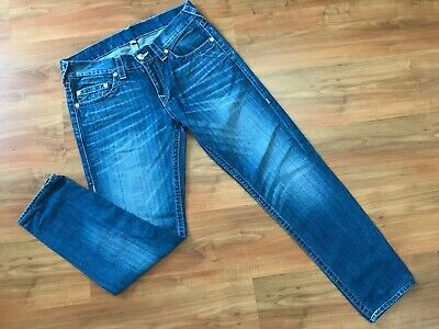 Mens Blue SLIM Skinny TRUE RELIGION DHUM JEANS (32-33x30) *GREAT COND*
