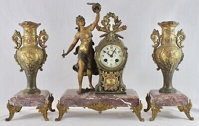 Antique French FORTIN RENNES Figural Mantel Clock + Matching Garnitures. 1870