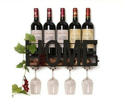 Wall Mounted Wine Glass Rack Wood Hanging Storage Holder