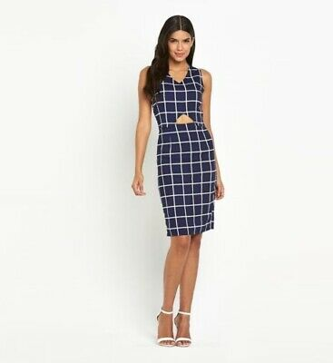 New Girls On Film Navy White Grid Check Midi Dress Party Event Office Look Uk 16