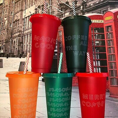 NEW Starbucks 2019 Holiday Christmas Reusable Cold Cups Lids & Straws 24oz 5Pack