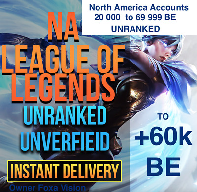 LEAGUE OF LEGENDS Account LOL NA Smurf  BE IP Unranked Level 30  30K to 69K